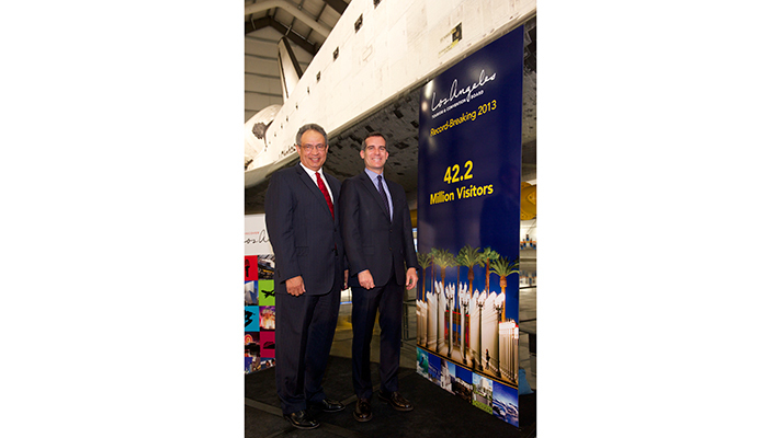 Los Angeles Mayor Eric Garcetti and Los Angeles Tourism & Convention Board (LA Tourism) President & CEO Ernest Wooden Jr. announced today that Los Angeles welcomed a record 42.2 million visitors in 2013. (Photo: Business Wire)