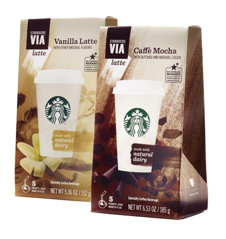 New Starbucks VIA(R) Latte: Vanilla Latte & Caffe Mocha (Photo: Business Wire)