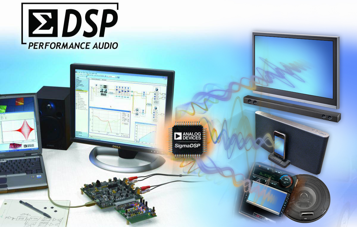 The ADAU1452 SigmaDSP processor executes up to three times more audio processing algorithms than its predecessors, providing system designers with more flexibility to improve the audio performance of their products. The new processor features a unique hardware architecture that is optimized for efficient processing of audio signal flows created using ADI's award winning, user-friendly SigmaStudio(TM) graphical programming tool.  (Graphic: Business Wire)