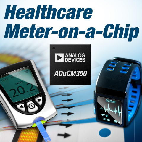 The ADuCM350 is a complete meter-on-a-chip optimized for portable health applications such as point-of-care diagnostics, remote health/vital signs monitoring and home/self-test health meters. (Photo: Business Wire)