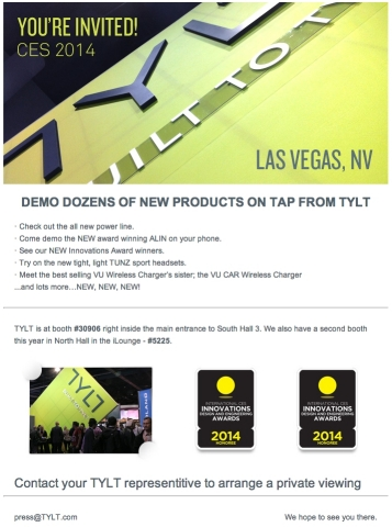 Visit TYLT at CES 2014! (Photo: Business Wire)