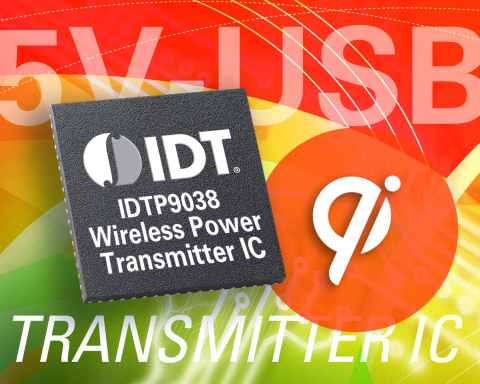 IDT Introduces Industry's First Single-chip 5V Wireless Power Transmitter Solution. IDT's Highly-integrated Solution Enables Development of Qi-compliant USB-powered Wireless Charging Bases With 75% Fewer ICs than Competing Solutions (Graphic: Business Wire)