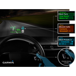 Garmin's interactive HUD interface for automakers presents customizable audio, navigation or communication content just below the driver's line of sight. (Photo: Business Wire)