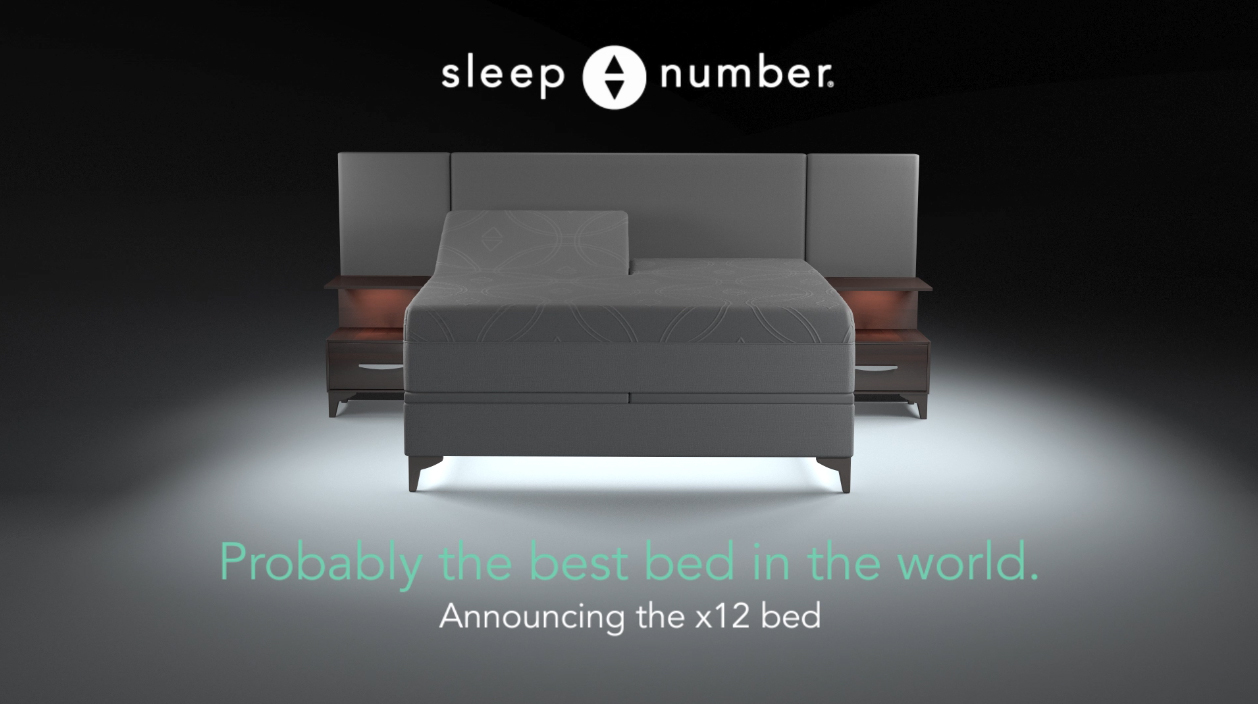 """The Sleep Number x12 adjustable bed is the only mattress that monitors and tracks your sleep with SleepIQ technology so you can achieve your very best sleep. The SleepIQ system, which is integrated into the Sleep Number bed's exclusive DualAir technology, measures your average breathing, movement, and average heart rate to track how you're sleeping. The touch-free system monitors and tracks your SleepIQ score and tells you what level of comfort and support - your Sleep Number setting - is best, all you have to do is sleep. The bed will help you know better sleep by showing when you're sleeping, when you're awake, and telling you straight up - """"Here's a good night, here's a better night, here's an awesome night."""" Learn more at www.sleepnumber.com/x12 and www.community.sleepnumber.com. (Source: Sleep Number)"""