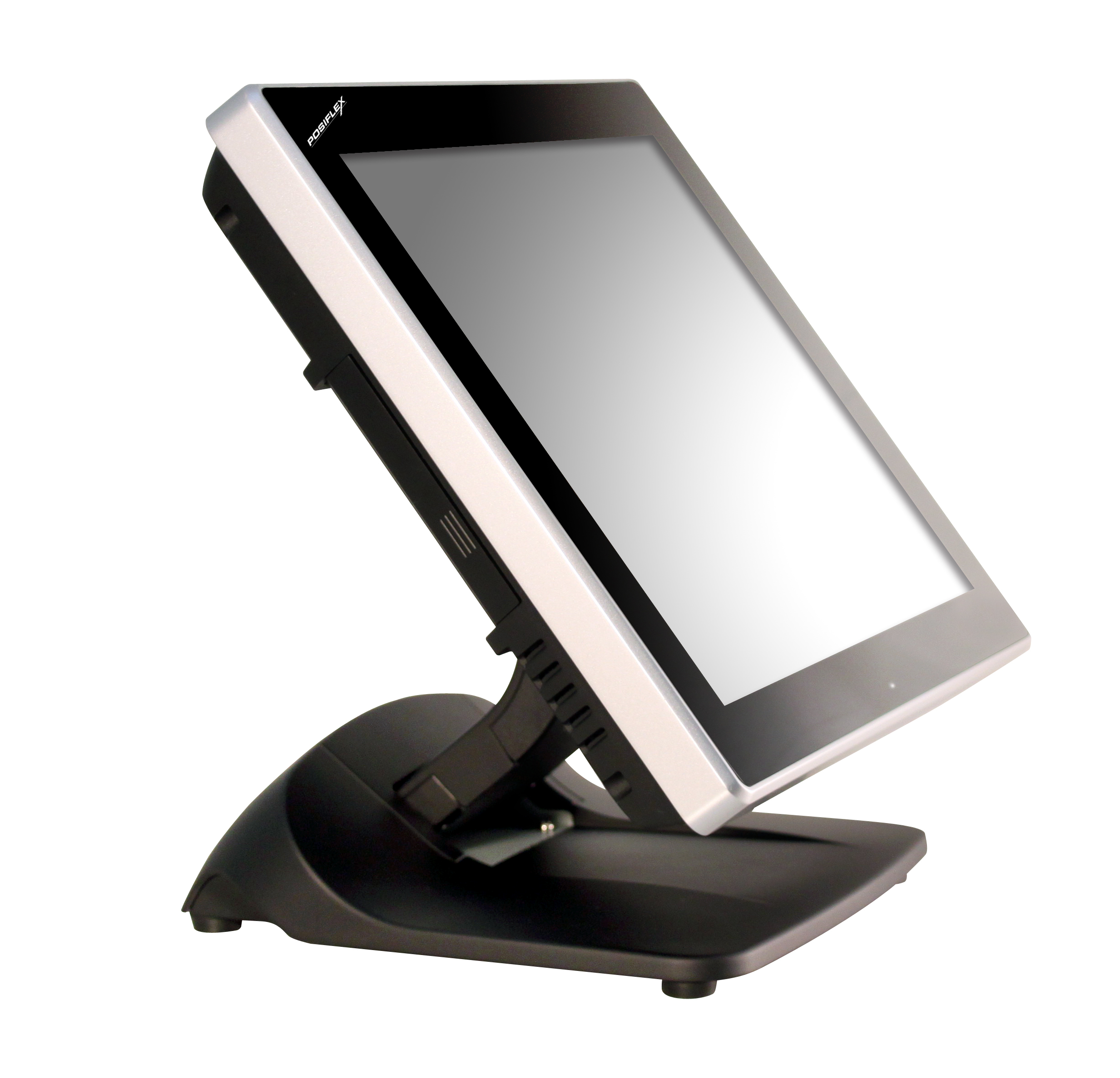 """XT4015 - New, powerful 15"""" bezel-free touch screen terminal with foldable base. In addition to its new, sleek, contemporary design, the XT4015 - with its scalable choice of three Intel(R) CPUs to select from (up to Intel(R) Core i5-3550s, 3.7GHz) - offers optimum power and price performance for virtually every solution. The XT4015 bezel-free projective capacitive or resistive touch screen terminal comes standard with 4GB DDR3 RAM, and can be upgraded up to 16GB. With a whole host of connectivity features, the XT4015 also has RAID 1, a mini-PCIe for WiFi and VESA mount options."""