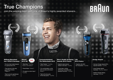 True Champions Join the winning team with one of Braun's highly awarded shavers (Graphic: Business Wire)