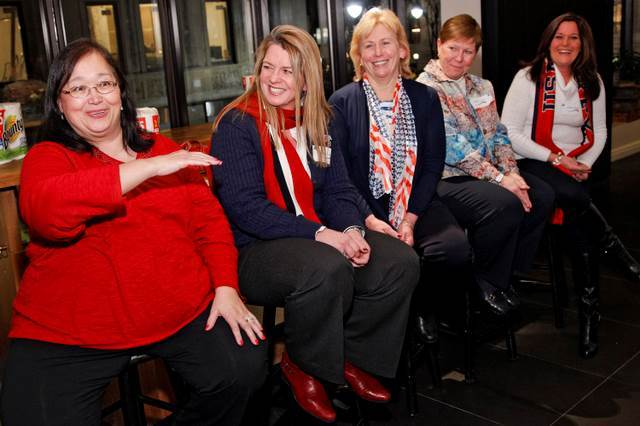 """Team USA Moms Miriam Chu, Maura Bellamy, Mary Duggan, Ahlise Coyne, and Marilyn Decker are seen during the Bounty """"Bring It"""" mom dinner on January 7, 2014, in New York City. (Brian Ach / AP Images for Bounty)"""