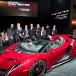 Monster® customized Lamborghini Veneno Roadster. Pictured from left to right: Swizz Beatz, Noel Lee, Thomas Felbermair, Thomas Brinkmann, Rene Suelzner, Dennis Krakenberg, Sascha Doering. (Photo: Business Wire)