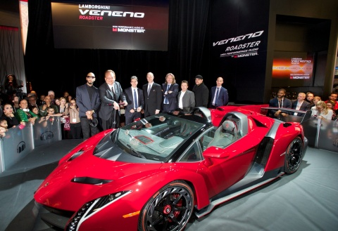 Monster® customized Lamborghini Veneno Roadster. Pictured from left to right: Swizz Beatz, Noel Lee, Thomas Felbermair, Thomas Brinkmann, Rene Suelzner, Dennis Krakenberg, Sascha Doering. (Photo: Business Wire)