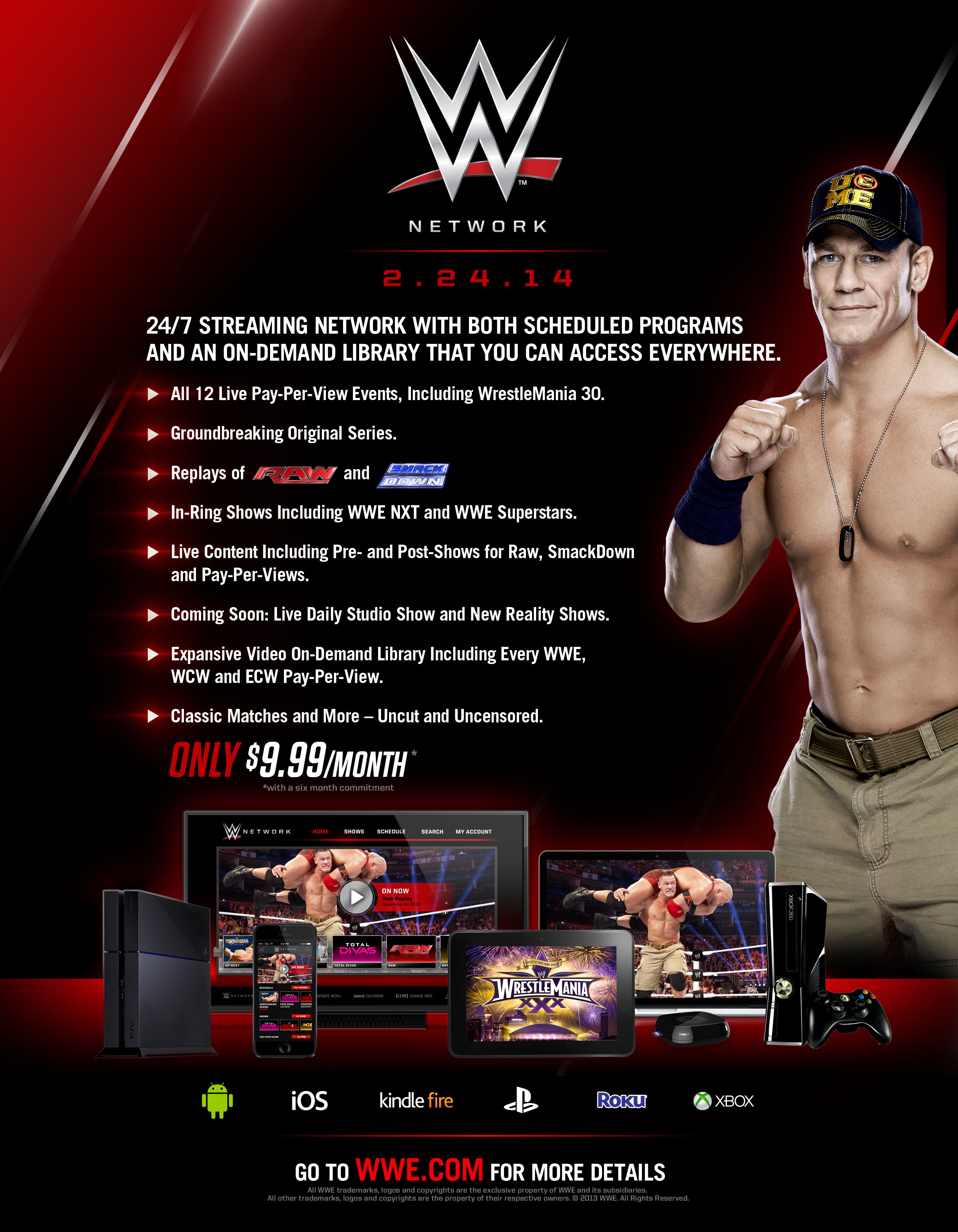 Overview of the features of the new WWE Network. (Photo: Business Wire)