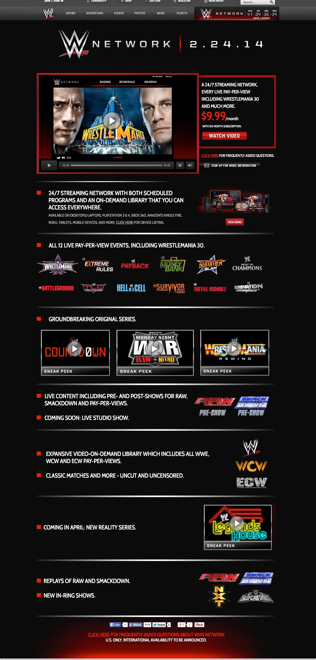 WWE Network Landing Page (Photo: Business Wire)