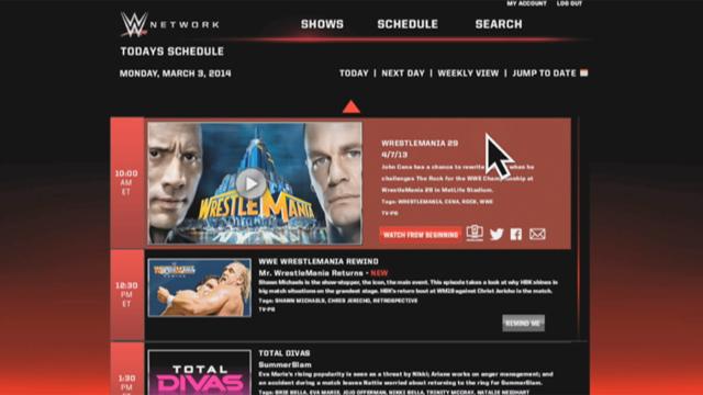 WWE Network demonstration.