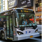 New York Transit's BYD 40-foot Electric Bus could operate an average of 30 hours per shift on a single night-time-charge, unlike competitors' electric buses that require en route charging every 2-3 hours. (Photo: Business Wire)