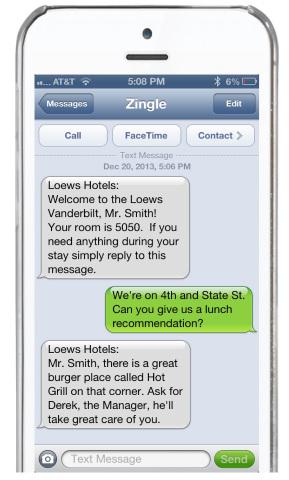 Zingle business texting for Loews Vanderbilt Hotel (Photo: Business Wire)