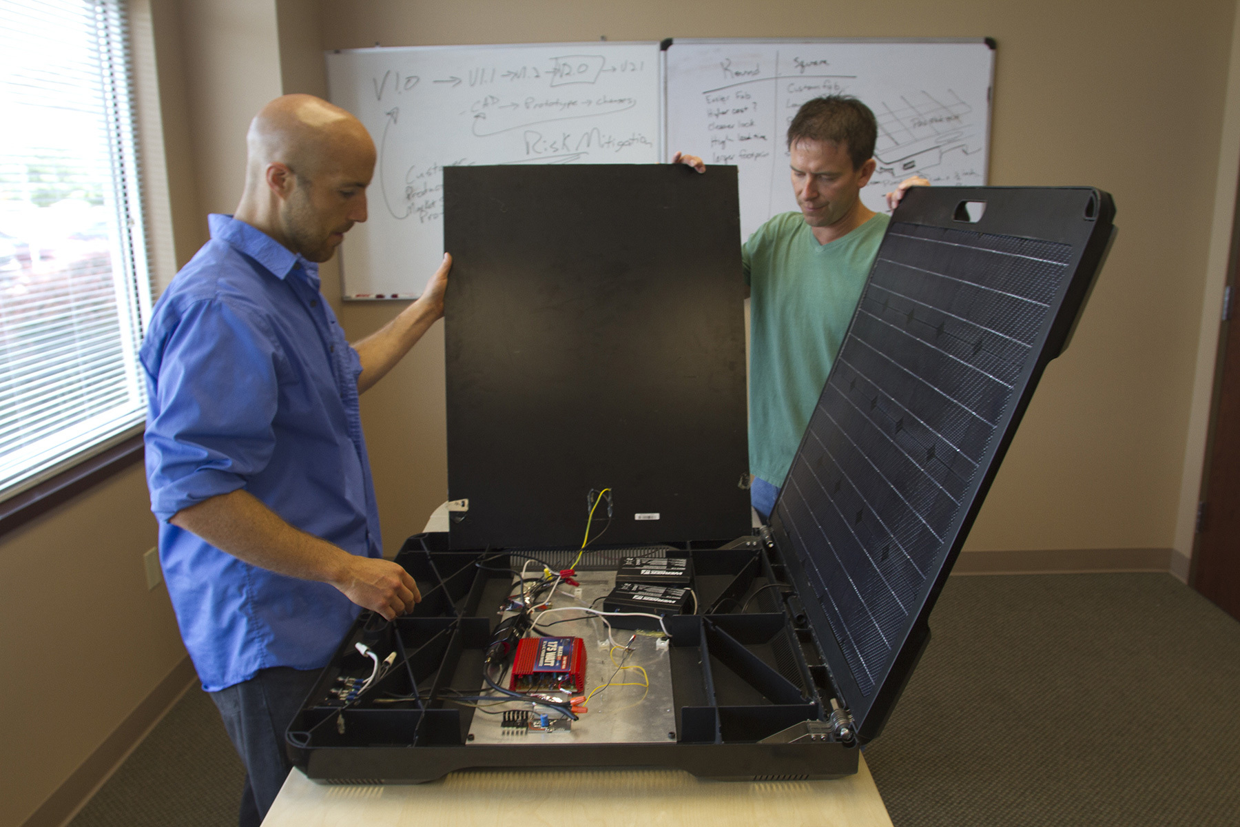 Developed from a 3D printed prototype made from strong ABS plastic, the FORTY2 is a solar generator using sunlight to power lights and laptops. (Photo: Stratasys)