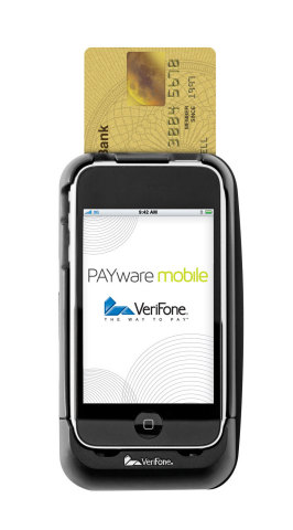 VeriFone's PAYware Mobile e210 mobile point-of-sale solution store, selected by use in Jones New York and Nine West, enables sales associates to accept all forms of electronic payment from anywhere on the sales floor, helping to reduce customer wait times while boosting store productivity. (Photo: Business Wire)