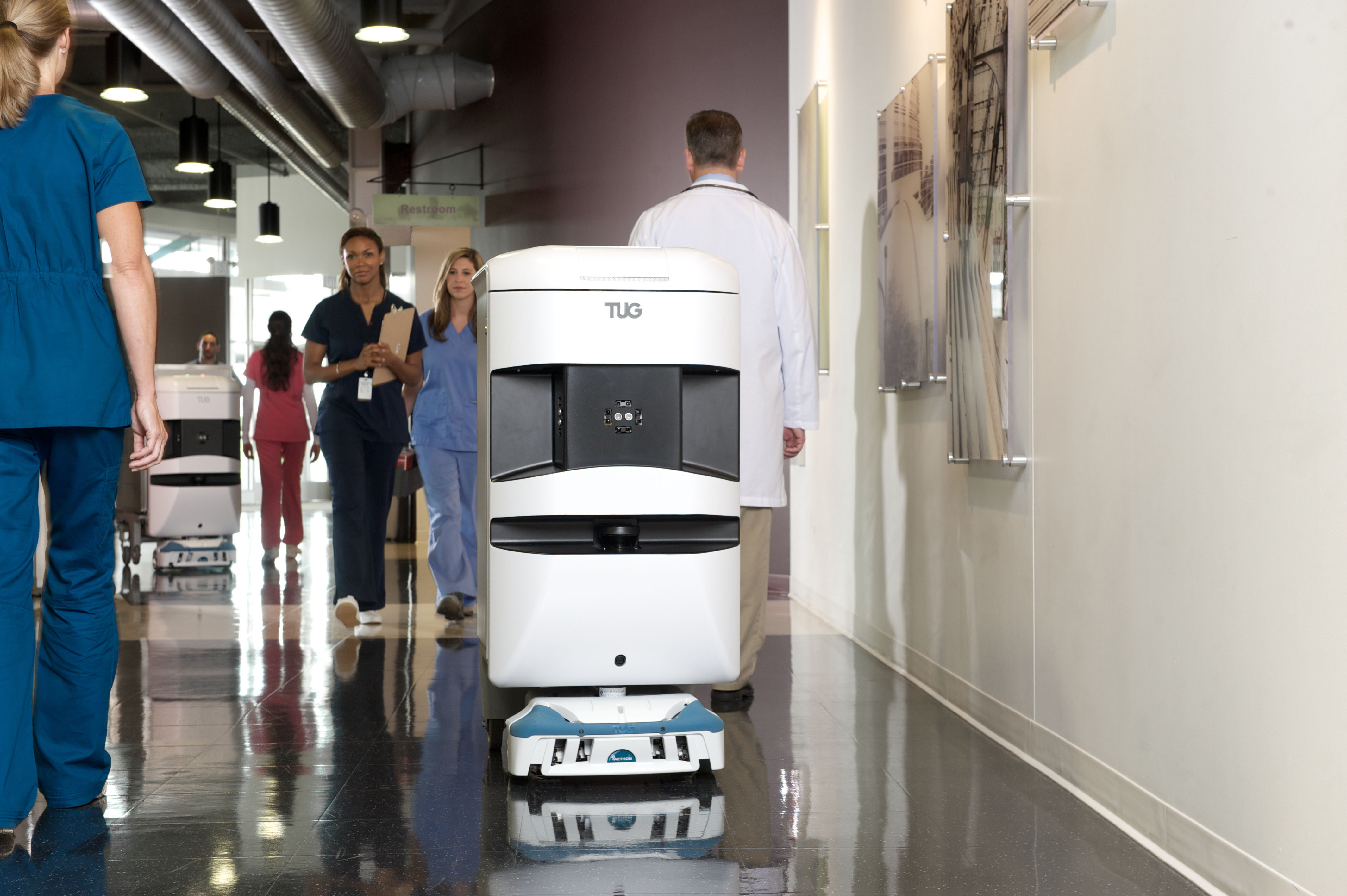 Aethon TUG autonomous mobile robot automates delivery and material movement in hospitals. (Photo: Business Wire)