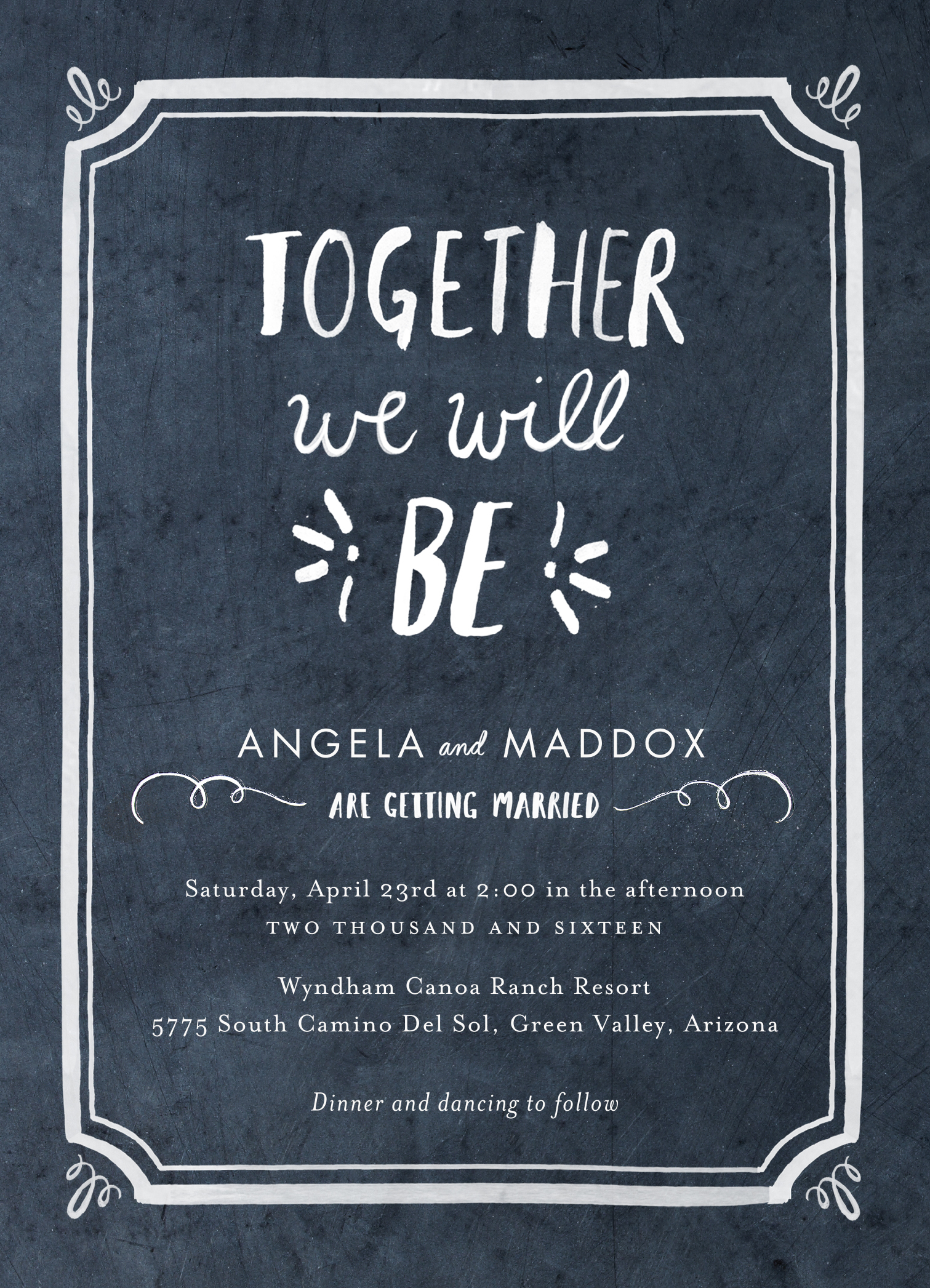 """""""Chalked Together"""" wedding invitation designed by BHLDN for Wedding Paper Divas (Graphic: Business Wire)"""