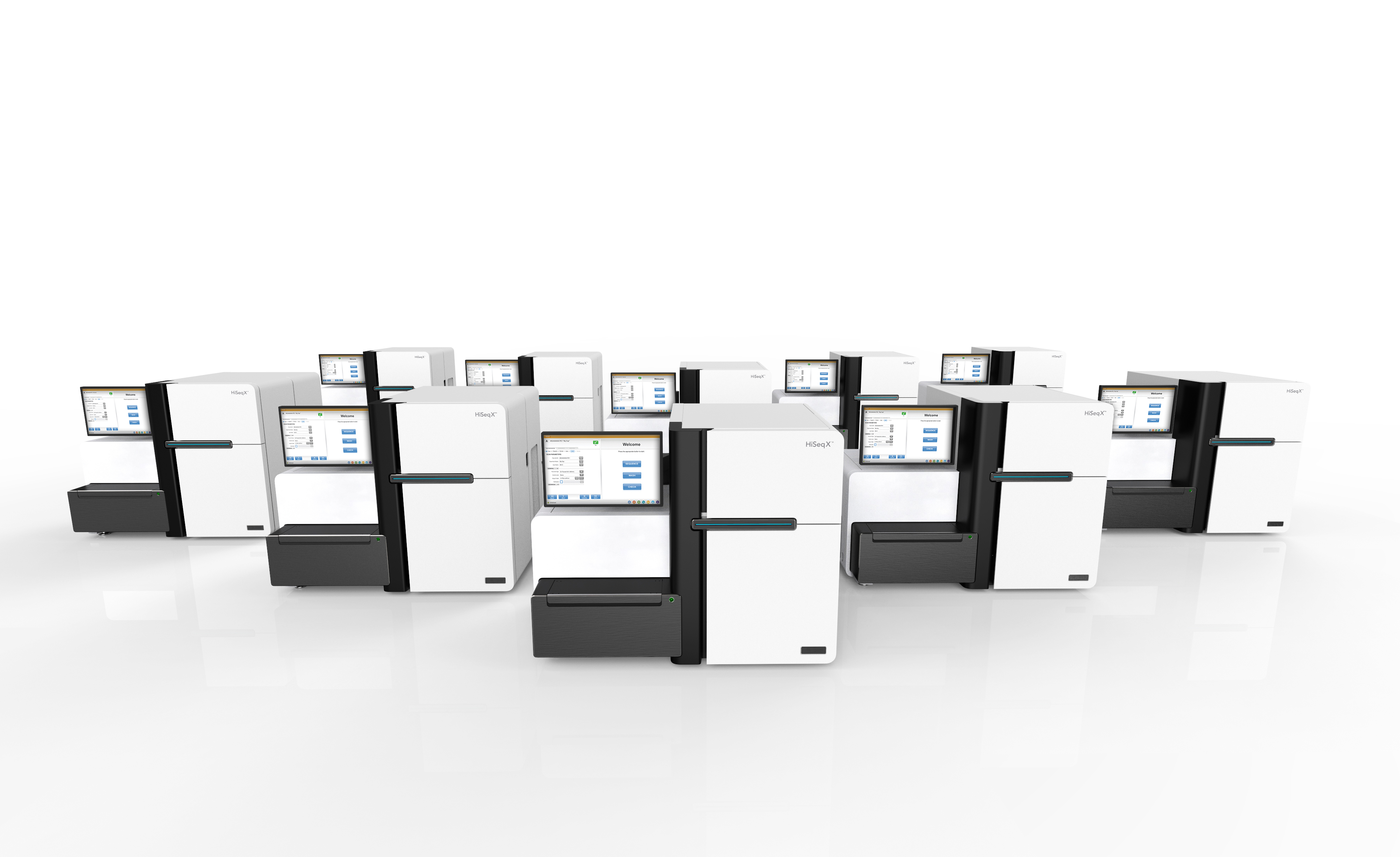 The HiSeq X™ Ten, composed of 10 HiSeq X Systems, is the first sequencing platform that breaks the $1000 barrier for a 30x human genome. The HiSeq X Ten System is ideal for population-scale projects focused on the discovery of genotypic variation to understand and improve human health. (Photo: Business Wire)