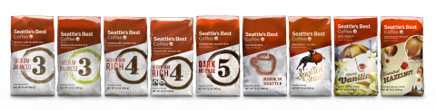 Seattle's Best Coffee packaged coffee is getting a new look to make it even easier for coffee drinkers to find the perfect coffee to fit their taste profile, including Signature Blends 3, 4 & 5 as well as Decaf Signature Blend 3, House Blend, Breakfast Blend and flavored coffee blends Very Vanilla and Toasted Hazelnut. (Photo: Business Wire)