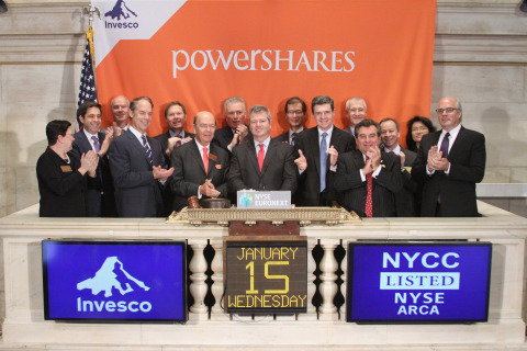 Executives and guests of Invesco PowerShares ring the opening bell at the NYSE. (Photo: Business Wir ...