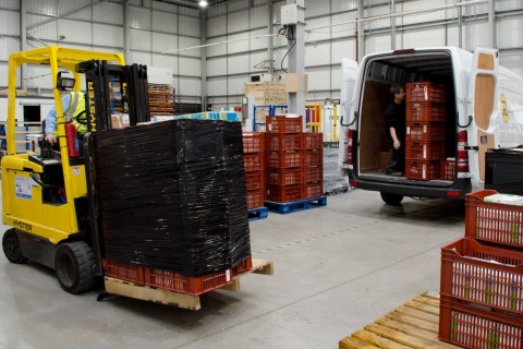 The UK stability team receiving the customer's product. (Photo: Business Wire)