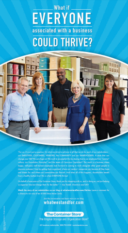 The Container Store's full page national newspaper ad, brought to life by five of The Container Store's stakeholders, promotes the retailers new, purpose-focused marketing campaign. (Graphic: Business Wire)