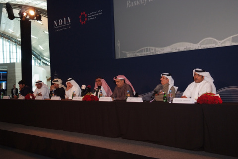 Members of the New Doha International Airport Steering Committee participate on panel at press confe ...