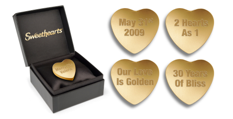 In time for Valentine's Day, NECCO is releasing limited-edition, 24 karat solid gold Sweethearts with your personalized message for the price of $19,995 (Photo: Business Wire)