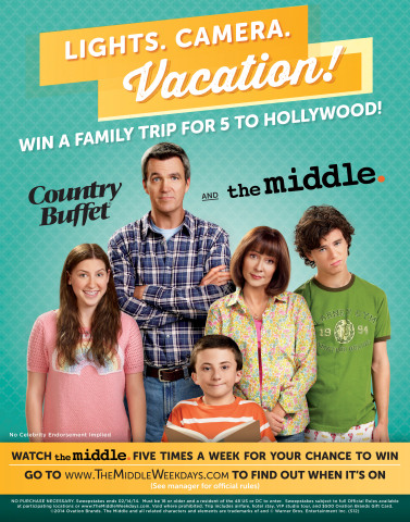 Ryan's®, HomeTown® Buffet, and Old Country Buffet® are partnering with Warner Bros. and The Middle to send one lucky family on a VIP trip to Hollywood, Calif. The sweepstakes is free to enter and starts on February 3, 2014. (Photo: Business Wire)