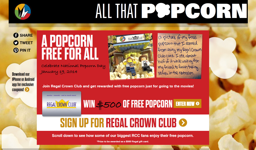 Regal Entertainment Group celebrates National Popcorn Day with a giveaway on AllThatPopcorn.com Source: Regal Entertainment Group