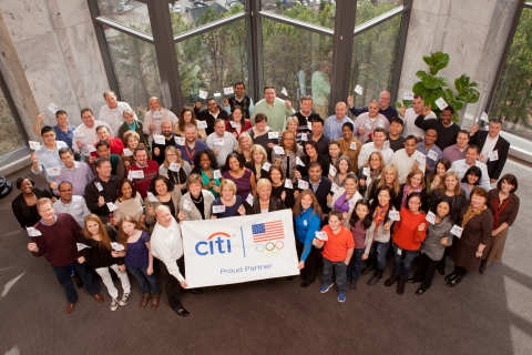 Employees at Citi's Atlanta office are joined by Team Citi's Picabo Street to celebrate the Citi Every Step of the Way program (photo by Pete Winkel)
