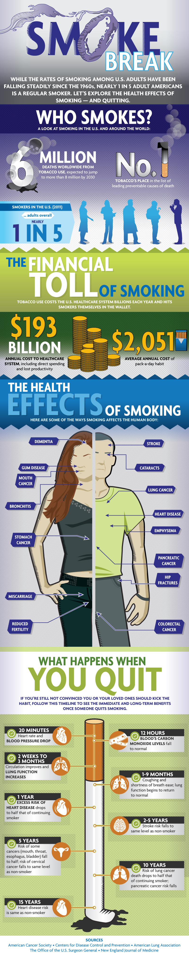 Smoke Break Infographic While the rates of smoking among US adults have been falling steadily since the 1960s, nearly one in five adult Americans is a regular smoker. This infographic explores the health effects of smoking, and quitting. For information on Health Dialog's population solutions, including our smoking cessation program and our new Enhanced Diabetes Management Program, please contact us. (Graphic: Business Wire)