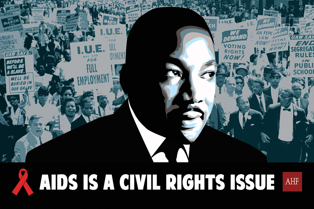 """To commemorate MLK Day, AIDS Healthcare Foundation launched a new national billboard awareness campaign headlined """"AIDS is a Civil Rights Issue."""" (Graphic: Business Wire)"""