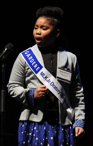 Fourth-grade student Kayla O'Neal captured the top spot at the 22nd Annual Gardere MLK Jr. Oratory C ...