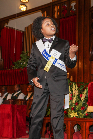 Amari Venzor, a fifth-grade student at Cornelius Elementary, secured first place at the 18th Annual Gardere MLK Jr. Oratory Competition in Houston. No stranger to the event, Amari, who was also a finalist in the 2013 competition, delivered a passionate speech about the importance of educating today's youth. (Photo: Business Wire)