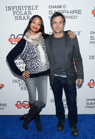"Actors Zoe Saldana, left, and Mark Ruffalo attend the ""Infinitely Polar Bear"" premiere party hosted by Chase Sapphire Preferred during the Sundance Film Festival on Saturday, Jan. 18, 2014 in Park City, Utah. (Photo by Evan Agostini/Invision for Chase Sapphire Preferred/AP Images)"