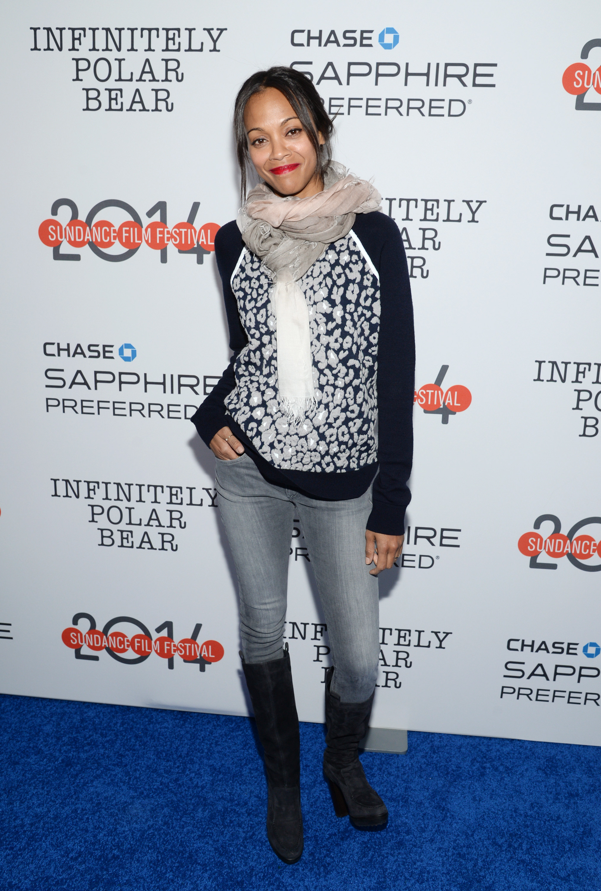 """Actress Zoe Saldana attends the """"Infinitely Polar Bear"""" premiere party hosted by Chase Sapphire Preferred during the Sundance Film Festival on Saturday, Jan. 18, 2014 in Park City, Utah. (Photo by Evan Agostini/Invision for Chase Sapphire Preferred/AP Images)"""