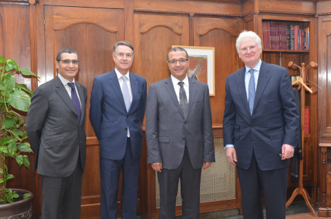 Said Ibrahimi, CEO CFCA; Michael Whitwell, President MEA, AIG; Mohamed Boussaid, Minister of Economy and Finance, Morocco; Nicholas Walsh, Vice Chairman, AIG (Photo: Business Wire)