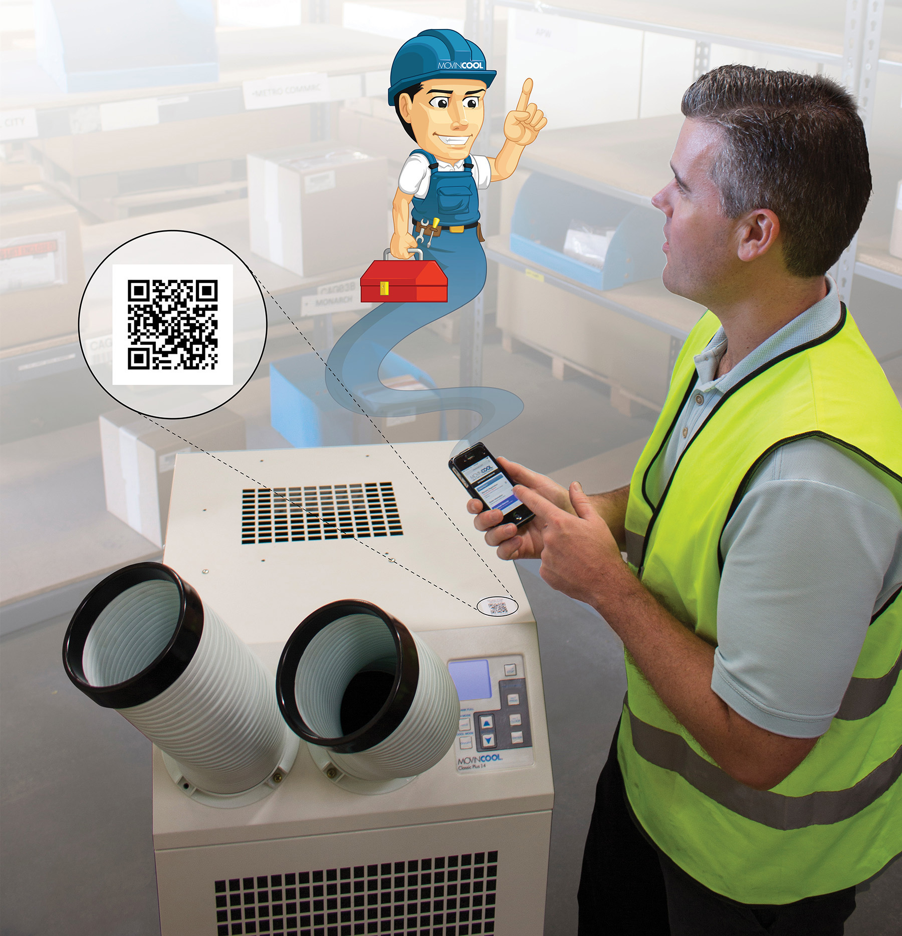 The new MovinCool QR Code Service Link gives owners of MovinCool air conditioners fast smartphone access to online warranty and service support information. (Photo: Business Wire)