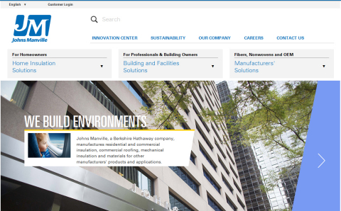The redesigned Johns Manville website provides an updated look and feel and greater ease of use. (Photo: Business Wire)