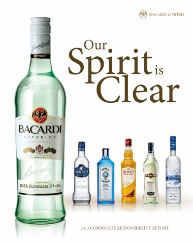 """Bacardi Limited, in its just-released Annual Report on Corporate Responsibility (CR), announced new gains in ongoing efforts to decrease its impact on the environment. These and other industry-leading practices are detailed in """"Our Spirit is Clear,"""" the latest Bacardi Limited Corporate Responsibility (CR) Report. To learn more about Bacardi CR initiatives, visit the Corporate Responsibility section of www.bacardilimited.com. (Photo: Business Wire)"""