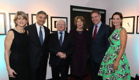 Pictured at the world premiere of the film documentary, Pioneers and Aviators, A Century of Irish Aviation. L-R  Katie Conner, Ray Conner, CEO Boeing Commercial Airplanes, President Michael D Higgins, Sabina Higgins, Domhnal Slattery, Avolon CEO and Elaine Slattery (Photo: Business Wire)