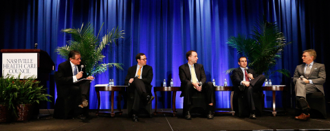 Left to Right: Wayne T. Smith, chairman, president and CEO, Community Health Systems; Whit Mayo, senior analyst, Robert W. Baird; Kevin Fischbeck, health care facilities and managed care analyst, Bank of America Merrill Lynch Global Research; Ralph Giacobbe, director, health care research team, Credit Suisse; and Frank Morgan, managing director, RBC Capital Markets. (Photo: Donn Jones Photography)