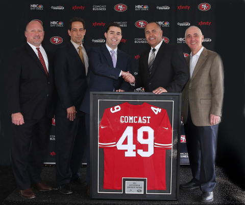 From left to right: Ted Girdner, Regional Vice President of Business Services, Comcast California, Ted Griggs, President and General Manager, Comcast SportsNet Bay Area, Jed York, 49ers Chief Executive Officer, Hank Fore, Regional Senior Vice President, Comcast California, Rich Cerussi, President and General Manager, NBC Bay Area. (Photo: Business Wire)