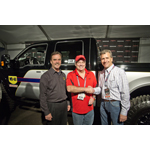 From left to right: Mike Freeman from WD-40 Company, Bill Barker (auction winner), Mike Spagnola from SEMA (Photo: Business Wire)