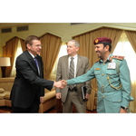 Major General Nasser Lakhrebani Al Nuaimi receiving Mr. Donald Bliss and Mr. Drew Azzara (Photo: Business Wire)