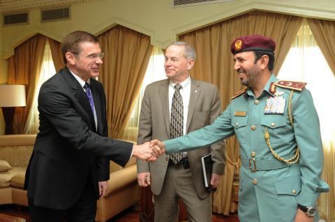 Major General Nasser Lakhrebani Al Nuaimi receiving Mr. Donald Bliss and Mr. Drew Azzara (Photo: Bus ...