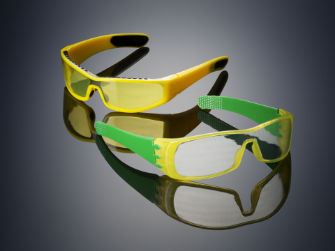 Glasses 3D printed on the Objet500 Connex3 Color Multi-material 3D Printer using Opaque VeroYellow (the frame), rubber-like black (TangoBlackPlus - also on the frame), and a unique translucent yellow tint (the lenses) in one print job - no assembly required (Photo: Stratasys Ltd.)