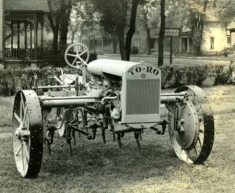 In 1919, the company introduces its first Toro-branded piece of equipment, a revolutionary farm machine that could be converted from a standard farm tractor to a two-row power cultivator. Known as the Toro TO-RO Utility Tractor, it enables farmers to perform multiple tasks while saving time, money and labor. (Photo: Business Wire)